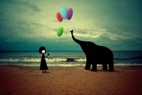 The girl and the elephant by Victor Eredel